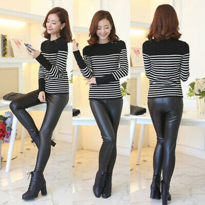Ladies Casual Sexy Pants Faux Leather High Waist Skinny Trousers Solid Leggings