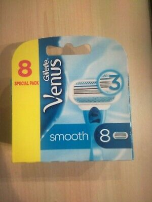 Gillette Venus Smooth Women's Razor 3 Blades 8x Refills Pack New Boxed Sealed