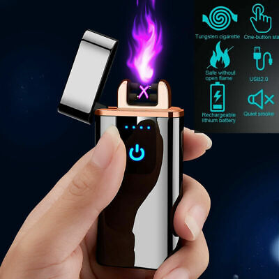 Rechargeable Dual Arc Electric USB Lighter Flame-less Cigarette Lighter Plasma