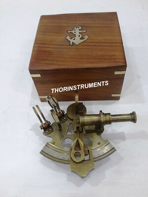 Nautical Brass Marine Sextant Astrolabe Desk Decorative With Anchor Wooden Box