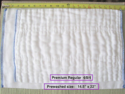 100% Cotton Chinese DSQ prefold diapers PREMIUM REGULAR (Large) 4/8/4 white