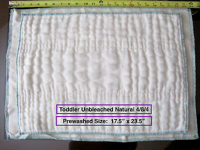 100% Cotton Chinese DSQ prefold diapers TODDLER Natural UNBLEACHED 4/8/4