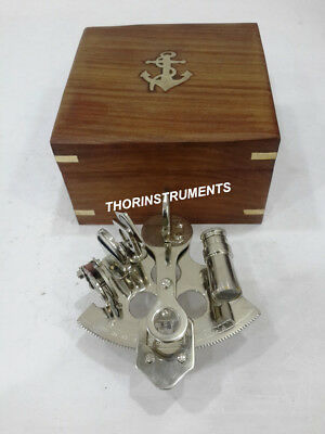 Nautical Vintage Marine Astrolabe Navigational Sextant With Anchor Wooden Box