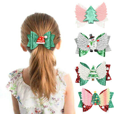 Christmas Bow Hairpin Layered Tiered Hair Clip Barrettes Girl Headwear Accessory