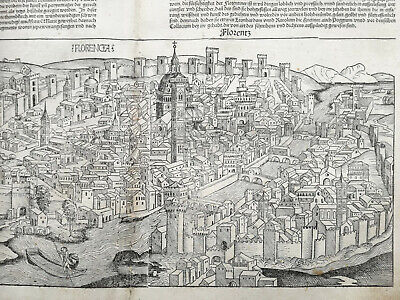 Incunable Leaf Schedel Liber Chronicorum Large View of Firenze Italy  - 1493