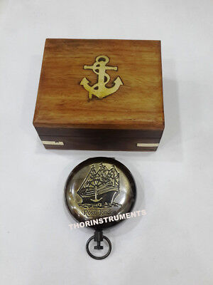 Nautical Brass Marine Push Button Pocket Compass With Anchor Wooden Box