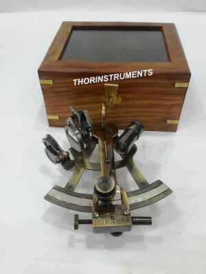 Nautical Antique Brass Vintage WHITE STAR LINE Sextant Maritime With Wooden Box
