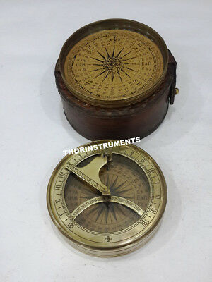 Nautical Brass Collectible Plain Goal Sundial Compass With Brown Leather Case