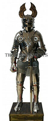 Medieval Reenactment Knight Full Suit of Armor with Chainmail Halloween Costume