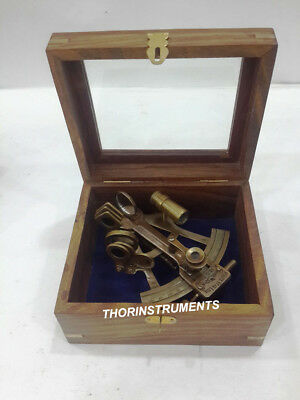 Antique Brass WHITE STAR LINE Sextant Astrolabe Nautical With Natural Wooden Box