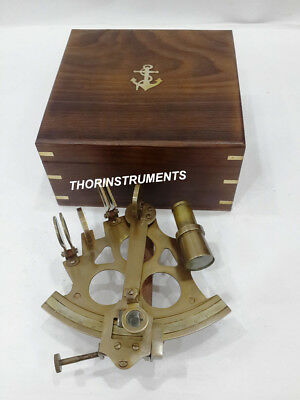 Antique Vintage Brass Marine Sextant Astrolabe With Brown Anchor Wooden Box
