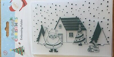 Hobbycraft Christmas Cabin Scene Embossing Folder Card Making Background New