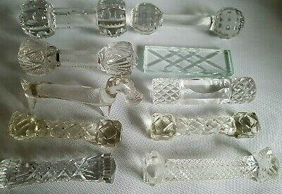 Antique Beautiful Collection Of 10 Crystal Cutlery - Knife Rests French English