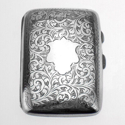 1905-1906 Beautifully Engraved Antique Hallmarked Silver Cigarette Case