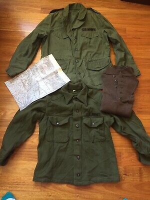 Ww2 Korea Lot Bayonet Jacket M65 Silk Scarf Escape Map Us Army Australia Bayonet