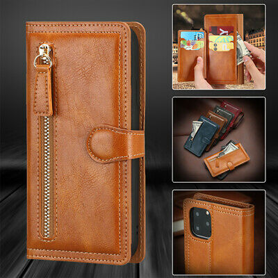 For iPhone 11 Pro XS Max XR X 8 7 6 Magnetic Leather Zipper Wallet Case Cover