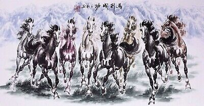 100% ORIENTAL ASIAN FINE ART CHINESE ANIMAL WATERCOLOR PAINTING-Horses Racing