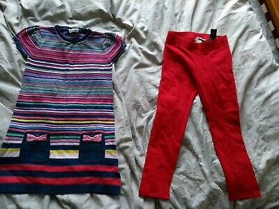 Girls Rainbow Red Knit Dress Leggings Outfit H&M 6-7-8 Years Christmas festival