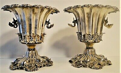 Antique Superb Pair Ottoman Islamic Solid Silver Gilt Spoon Holders Tughra 1870