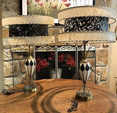 """Fine Pair Modern Mid Century 28"""" H Atomic Age Table Lamps 3 Tier 18"""" Wide Shades"""
