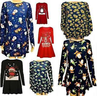 Womens Funny Novelty Pudding Cup Cakes Boobs Xmas Ladies Christmas Swing Dress
