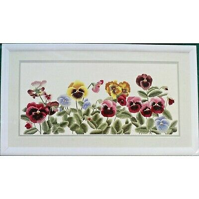 Elsa Williams PANSY PANEL Crewel Embroidery Kit Linen Pansies Parade
