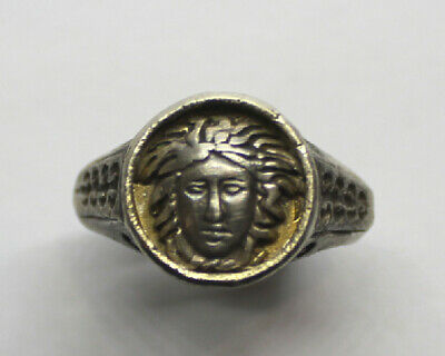 GREEK SILVER RING with GORGON UK Q 1/2, US 8 1/2, 18.5mm, 0.73in 13.60gr
