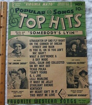 Vtg Vol 1 #2 Popular songs Top Hits Nov. 1944 Words Music to SOMEBODY'S LYIN Etc