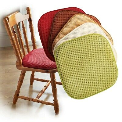 Pack of 2 Self-Grip Memory Foam Seat Pads Non-Slip Dining Chair Cushions