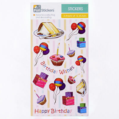 Fun Stickers Kids Party Bag Fillers Birthday Wishes 6 Sheets CDU C 18-35