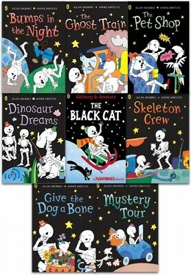 Funny Bones Collection By Allan Ahlberg 8 Books Set Ghost Train,Skeleton Crew PB