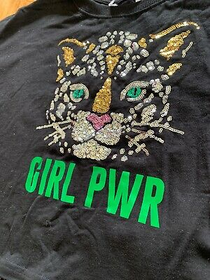 BLACK SHORT SWEATSHIRT- Stunning Sequin Front- GIRL PWR. Age 14yrs