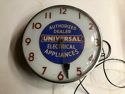 Antique Vintage UNIVERSAL ELECTRIC APPLIANCES Advertising Clock WORKS! Telechron