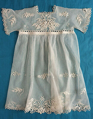 Antique French embroidered tulle girl's dress