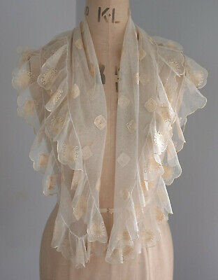 Antique embroidered tulle fichu