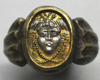 BYZANTINE BRONZE RING with GORGON UK S, US 9 1/4, 19.2mm, 0.754in 12.28gr