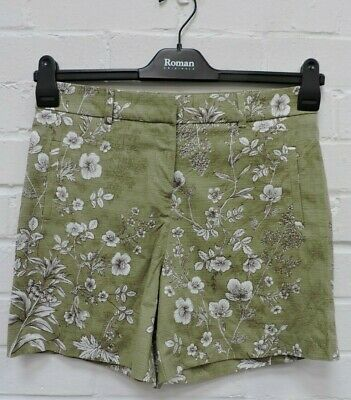 Ladies Next Green Mix Floral Patterned Shorts Size UK 8 #R9-CE