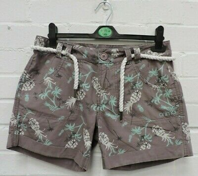 Ladies Animal Grey Mix Pineapple Patterned Tie Belt Shorts Size UK 8 #R9-CE