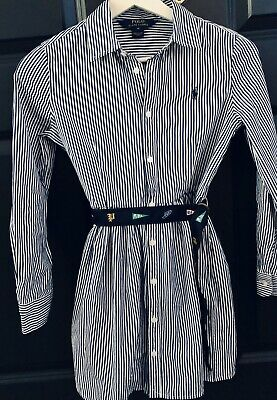 Genuine Ralph Lauren Dress, Blue And White Stripe, Logo Belt, Polo Girls, Age 10