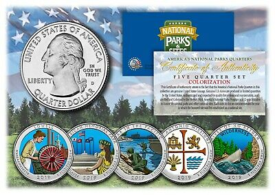 2019 Colorized National Parks America the Beautiful Coins *Set of all 5 Quarters