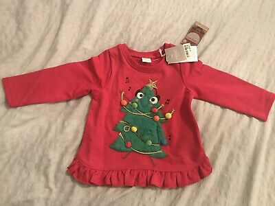 BNWT Next Baby Girls Red Christmas Jumper Sweater 12-18 Months With Sounds Music