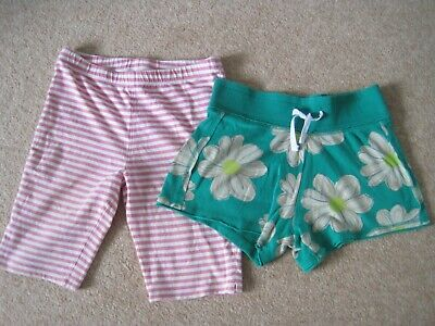 2 pairs of shorts, green floral Next & pink & white striped TU -  age 10-11