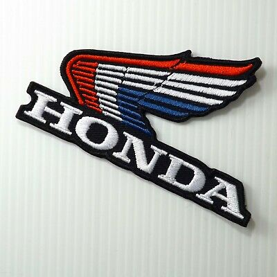 "4.0""x1 pc. vintage red blue honda wing racing bike embroidered iron on sew patch"