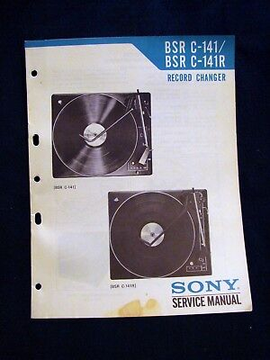 SONY BSR C-141/141R TURNTABLE RECORD CHANGER 1973 Owner's Service Manual