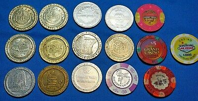 16 DIFFERENT CASINO CHIPS VARIOUS LOCATIONS 1, 2, 5 Dollar Fremont Harra's More
