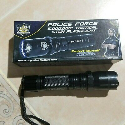 POLICE METAL Stun Gun 1158 180 BV Rechargeable With LED Flashlight