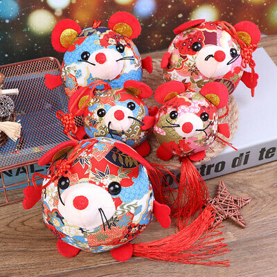 2020 Year Of The Fat Rat Mascot Plush Toy Red Chinese Knot Mouse Pendant G yiPTA