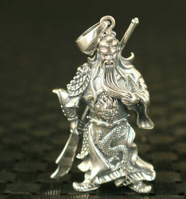 s925 silver hand carving guangong Statue hero pendant netsuke collect gift