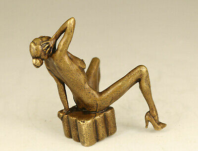 Art old bronze hand carved seat girl Statue figure decoration antique copy gift