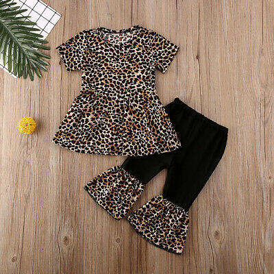 US Toddler Kids Baby Girl Tops Dress Leopard Pants Leggings Outfit Clothes